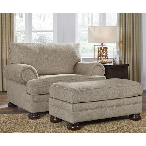 Signature Design by Ashley Kananwood Chair and a Half and Ottoman