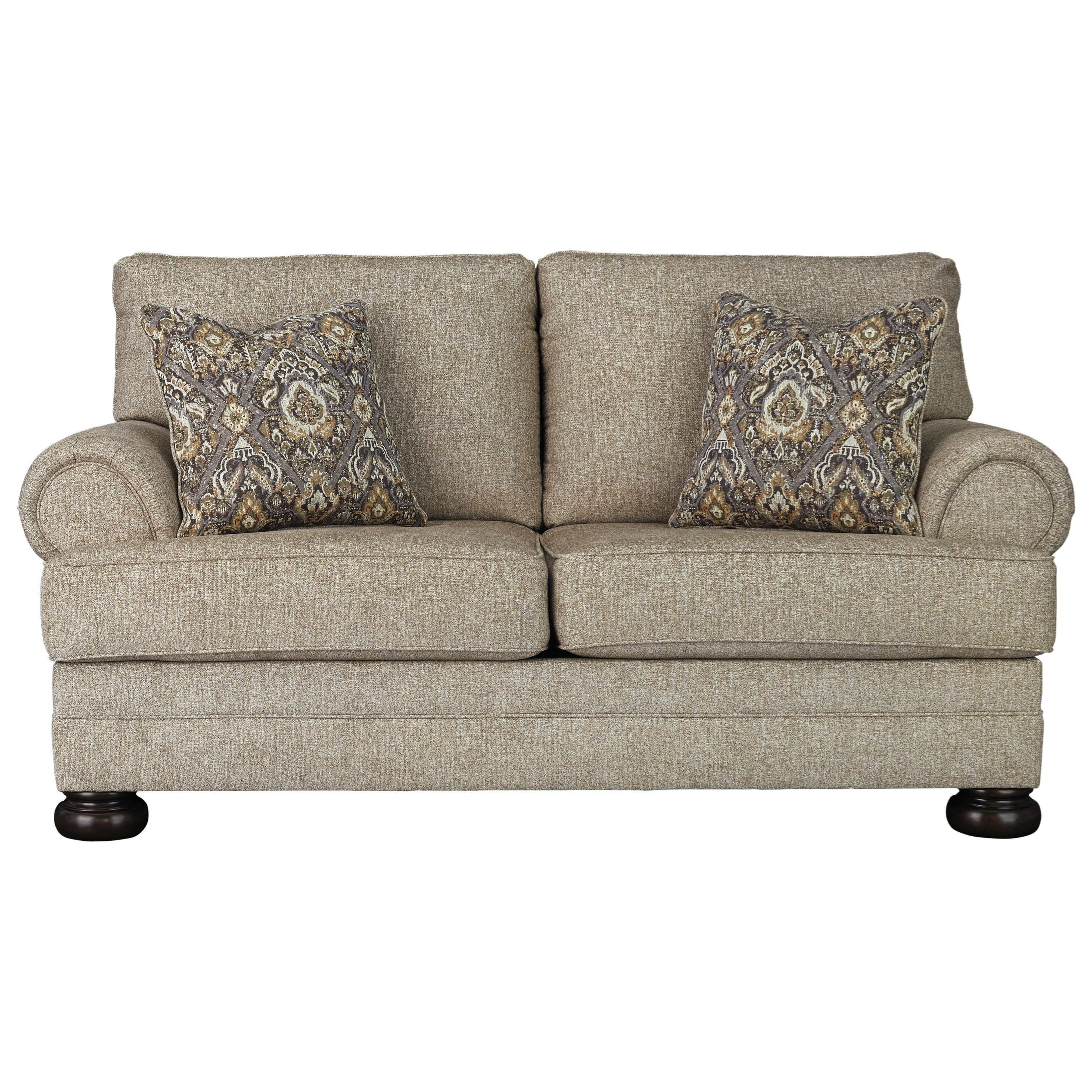 Loveseat with Rolled Arms and Bun Feet
