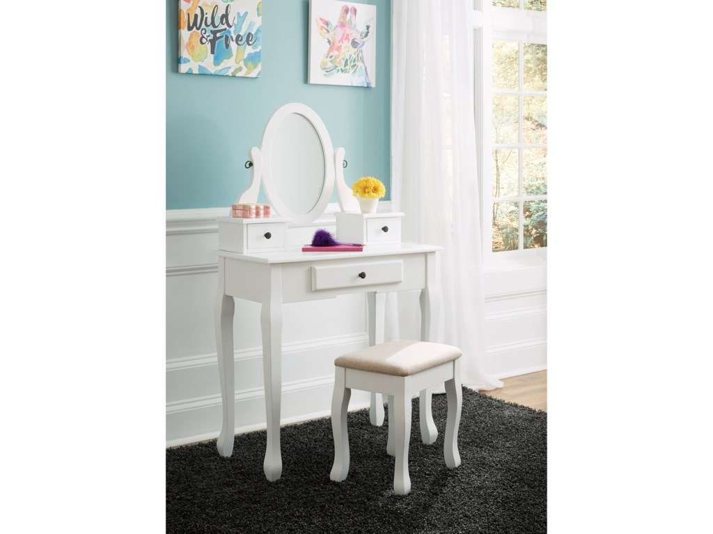 Ashley (Signature Design) KaslynVanity with Mirror and Stool