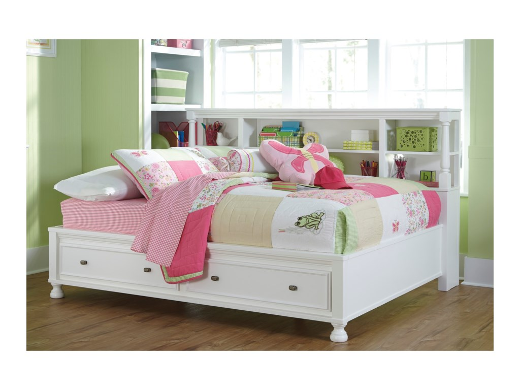 Signature Design By Ashley Kaslyn Full Bookcase Bed With Footboard Drawers Miskelly Furniture Beds