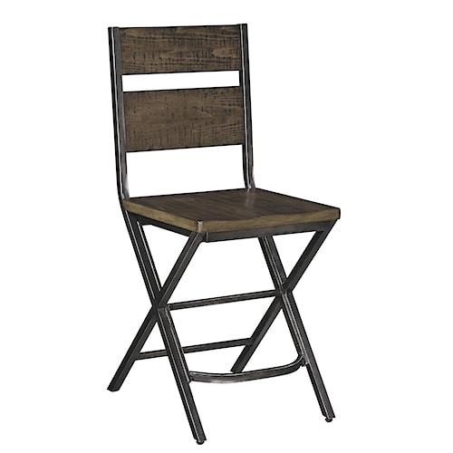 Signature Design by Ashley Kavara Medium Brown Bar Stool w/ Shaped Foot Rest and Pine Veneers