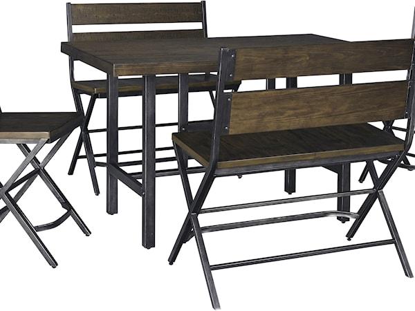 5-Piece Counter Table & Double Bar Stool Set