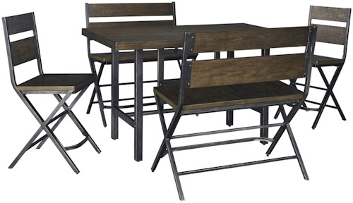 Signature Design by Ashley Kavara 5-Piece Counter Table w/ 2 Bar Stool and 2 Double Bar Stool Set