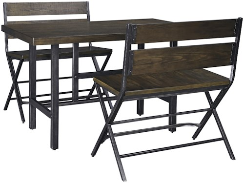 Signature Design by Ashley Kavara 3-Piece Rectangular Dining Room Counter Table w/ Pine Veneers and Double Bar Stool w/ Shaped Foot Rest Set