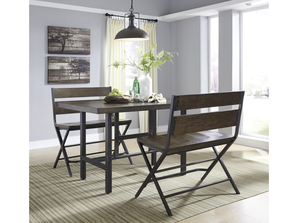 Trendz Korvina3-Piece Counter Table & Double Bar Stool Set