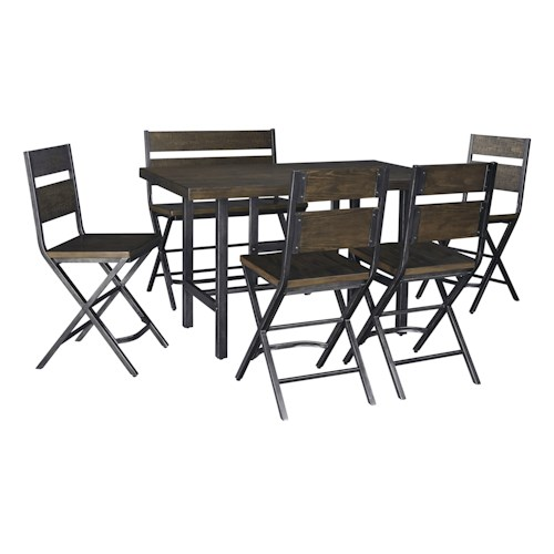 Signature Design by Ashley Kavara 6-Piece Rectangular Dining Room Counter Table w/ Pine Veneers w/ 4 Bar Stools w/ Shaped Foot Rest and Double Bar Stool Set