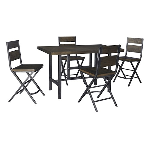 Signature Design by Ashley Kavara 5-Piece Rectangular Dining Room Counter Table w/ Pine Veneers and Bar Stool w/ Shaped Foot Rest Set