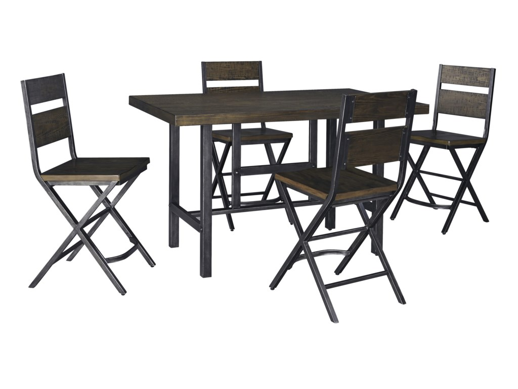 03444fcca875 Signature Design by Ashley Kavara 5-Piece Rectangular Dining Room Counter  Table w  Pine Veneers and Bar Stool w  Shaped Foot Rest Set