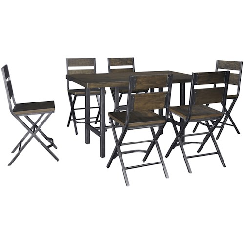 Signature Design by Ashley Kavara 7-Piece Rectangular Dining Room Counter Table w/ Pine Veneers and Bar Stool w/ Shaped Foot Rest Set