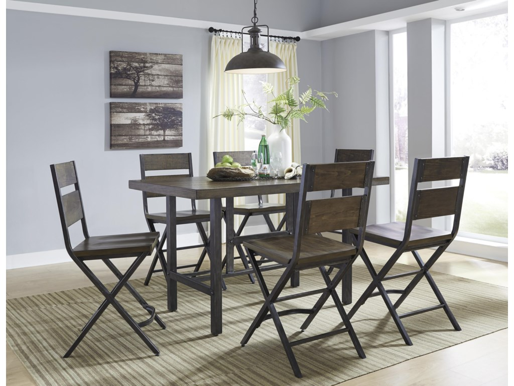 Signature Design by Ashley Kavara7-Piece Counter Table w/ 6 Bar Stool Set