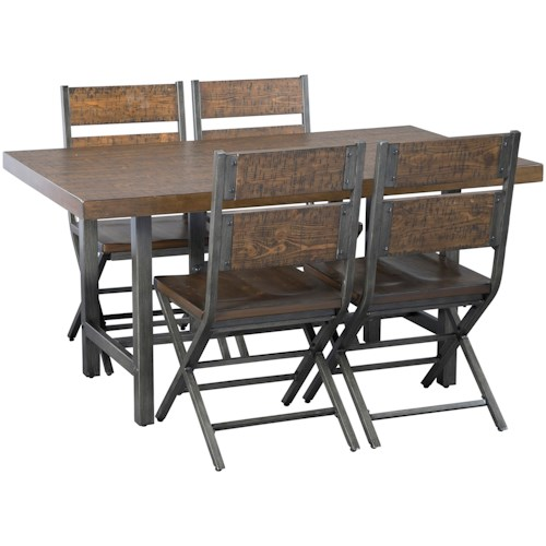 Signature Design by Ashley Kavara 5-Piece Distressed Pine/Metal Rectangular Dining Table Set