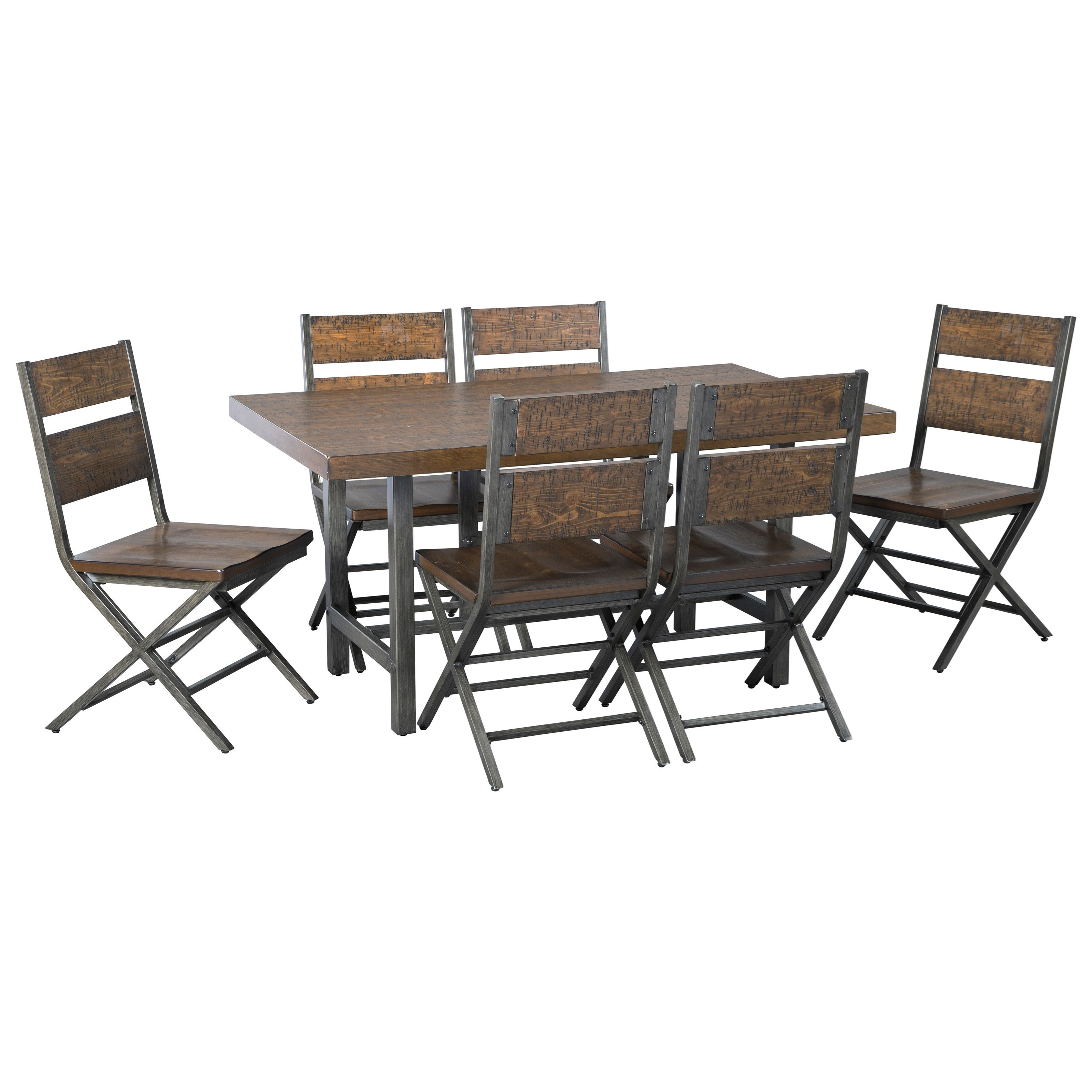 Signature Design by Ashley Kavara7-Piece Rectangular Dining Table Set ...  sc 1 st  Royal Furniture & Signature Design by Ashley Kavara 7-Piece Distressed Pine/Metal ...