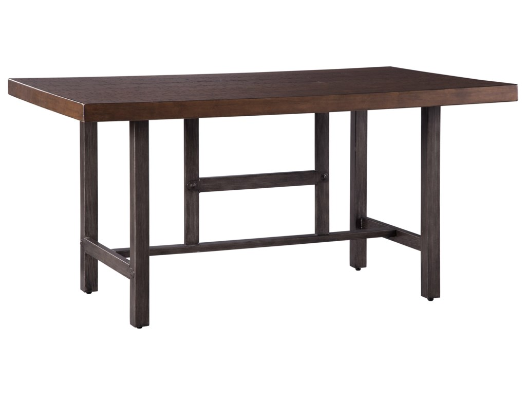Kavara Distressed Pine Wood/Metal Rectangular Dining Room Table by  Signature Design by Ashley at Household Furniture