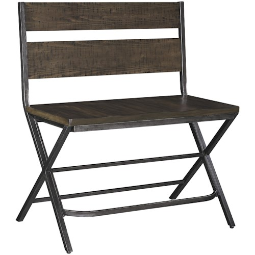 Signature Design by Ashley Kavara Medium Brown Double Bar Stool w/ Shaped Foot Rest and Pine Veneers