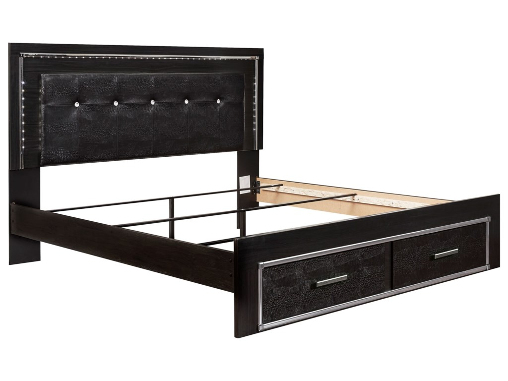 Signature Design by Ashley KaydellKing Uph Storage Bed with LED Lighting