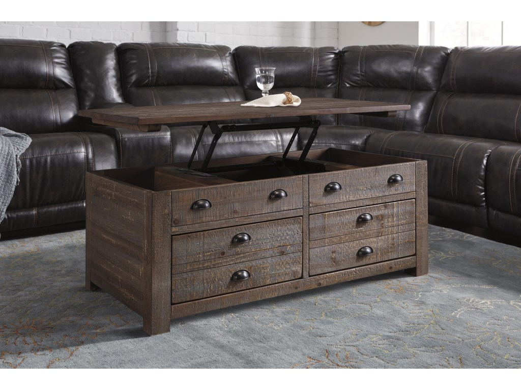 Signature design by ashley keeblen rustic pine trunk style keeblen t878 9 rustic pine trunk style rectangular lift top coffee table with 2 drawers casters by signature design by ashley geotapseo Image collections