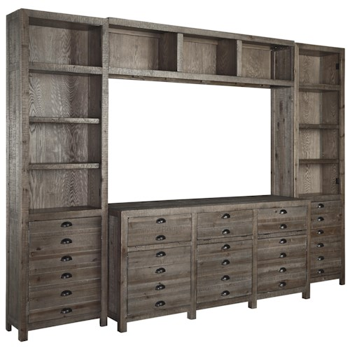 Signature Design by Ashley Keeblen Rustic Gray Brown Pine Entertainment Wall Unit