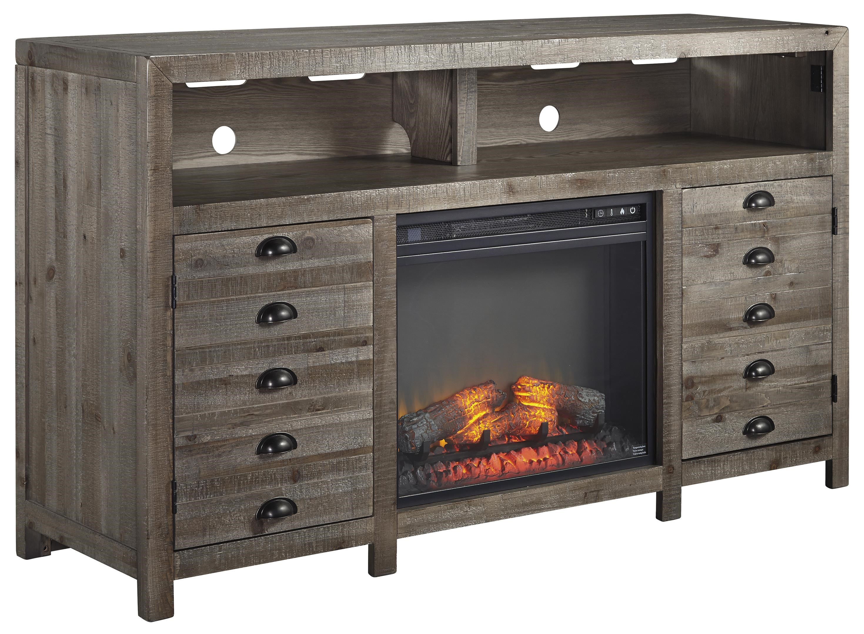 Signature Design by Ashley Keeblen Rustic Gray Brown Pine TV Stand ...