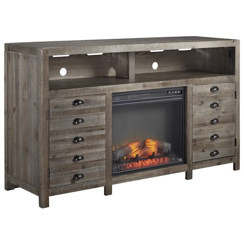 Signature Design by Ashley Keeblen Rustic Gray Brown Pine TV Stand with Electric Fireplace Insert