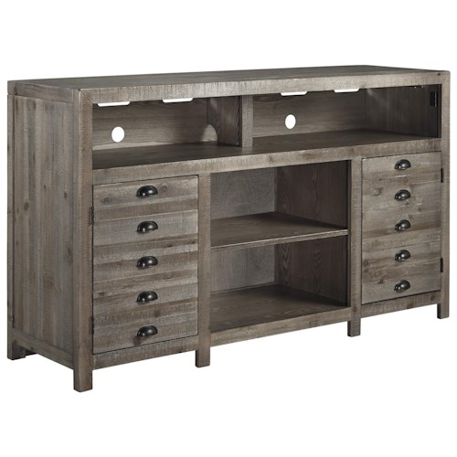 Signature Design by Ashley Keeblen Rustic Gray Brown Pine TV Stand with Cup Pulls
