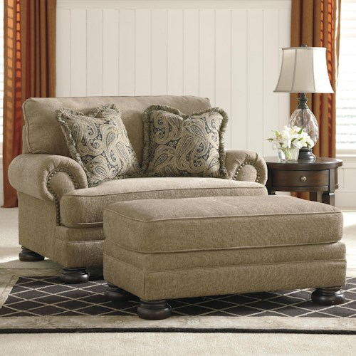Signature Design by Ashley Keereel - Sand Transitional Chair and a Half & Ottoman