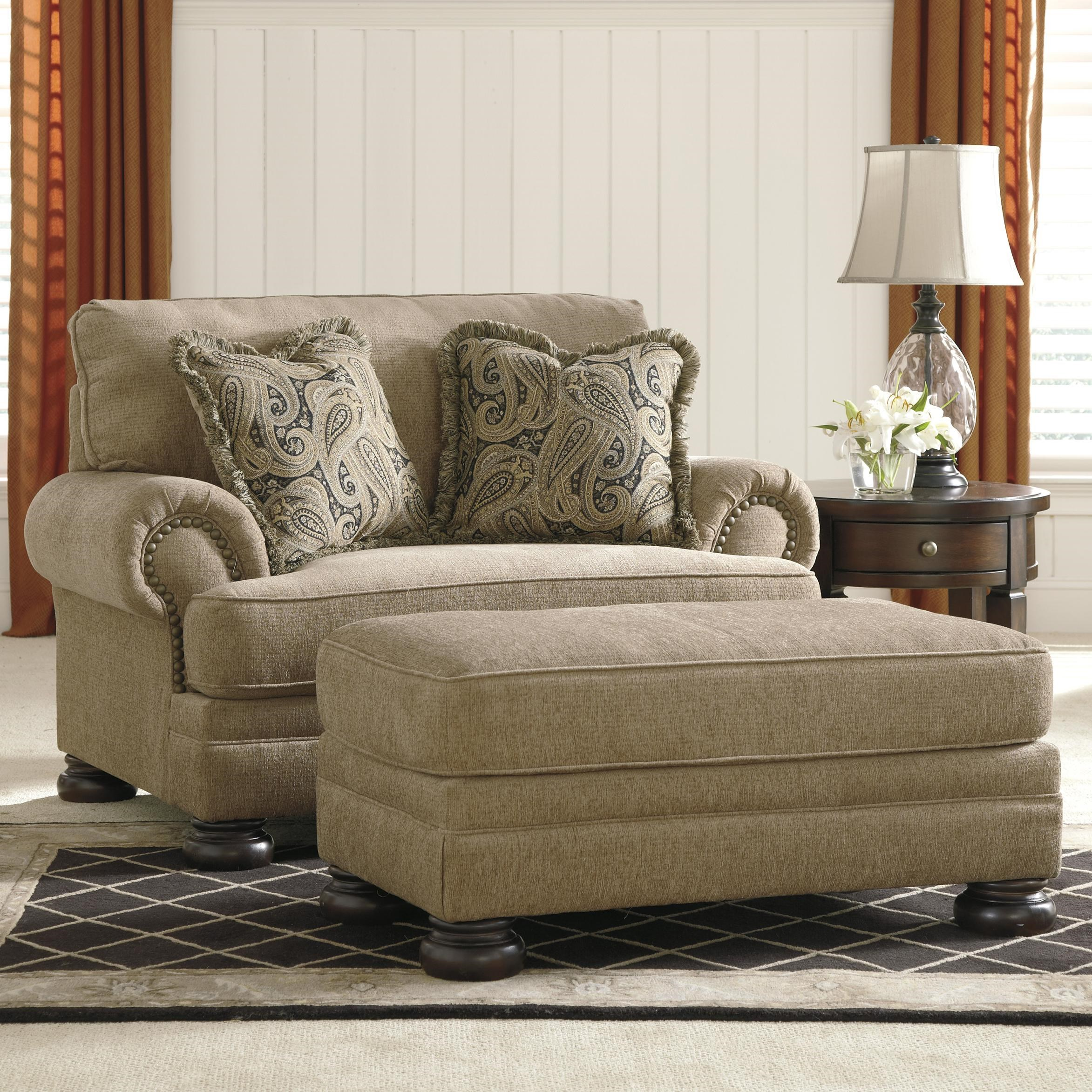 Wonderful Signature Design By Ashley Keereel   Sand Transitional Chair And A Half U0026  Ottoman