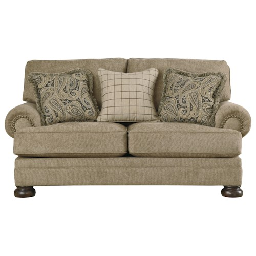 Signature Design by Ashley Keereel - Sand Transitional Loveseat with Rolled Arms and Bun Feet