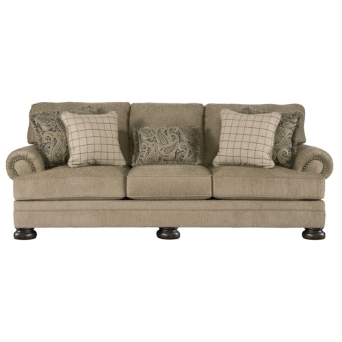Signature Design by Ashley Keereel - Sand Transitional Sofa with Rolled Arms and Bun Feet