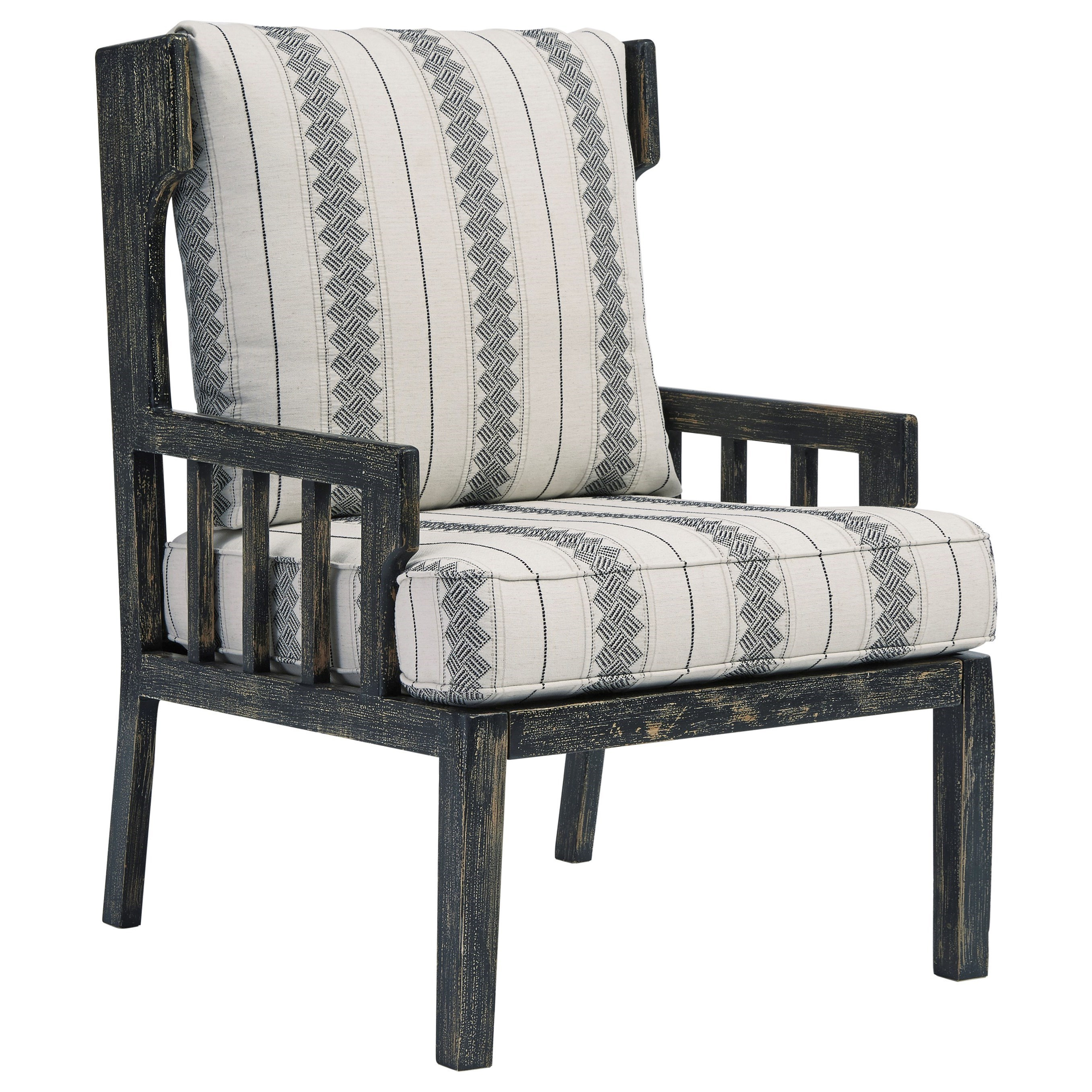 Distressed Black Wood Accent Chair with Wing Back and Loose Reversible Cushions