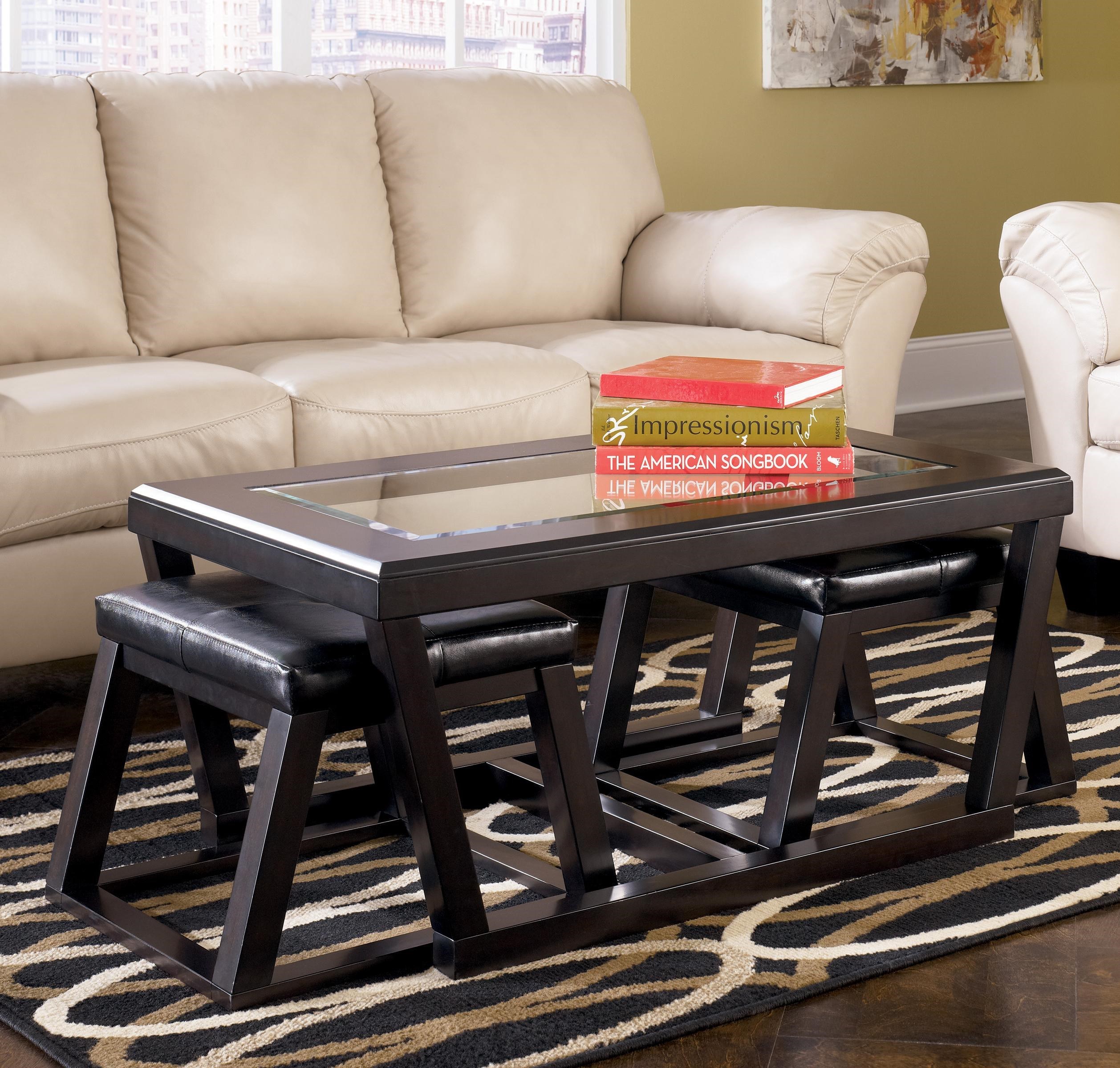 Rectangular Cocktail Table w/ Faux Leather Ottoman Pair