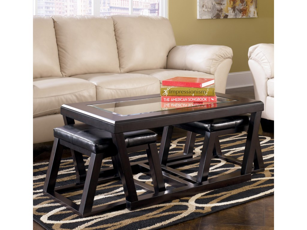 Signature Design by Ashley KeltonRectangular Cocktail Table w/ Ottoman Pair