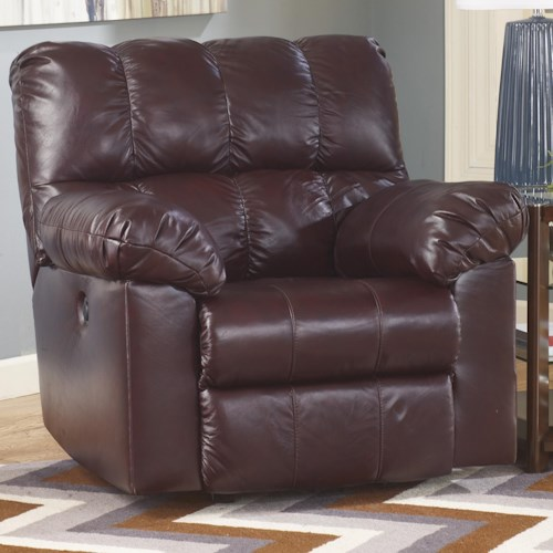 Signature Design by Ashley Kennard - Burgundy Rocker Recliner with Large Pillow Arms