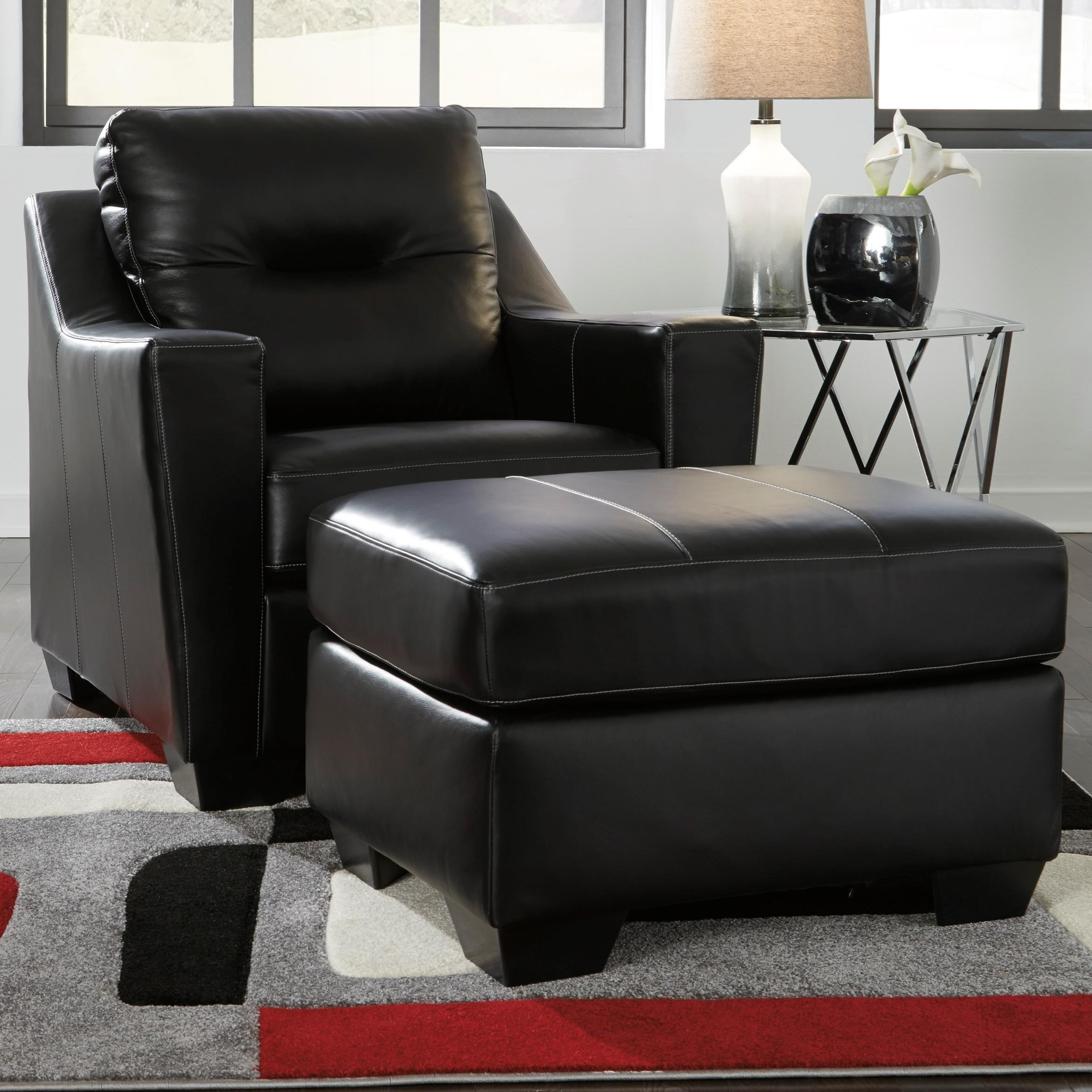 Signature Design By Ashley Kensbridge Leather Match Contemporary Chair U0026  Ottoman