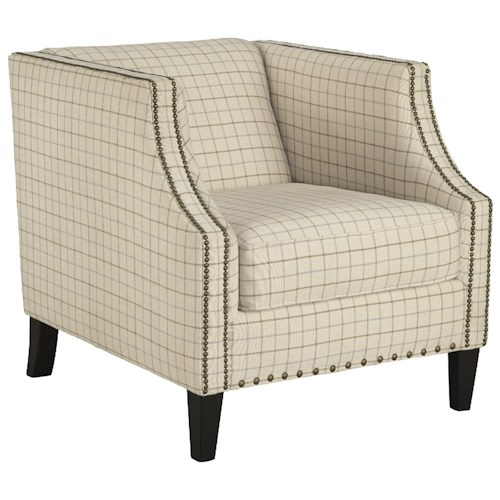 Signature Design by Ashley Kieran Club Style Accent Chair with Nailhead Trim