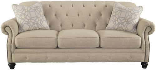 Signature Design by Ashley Kieran Traditional Sofa with Tufted Back and Feather Blend Accent Pillows