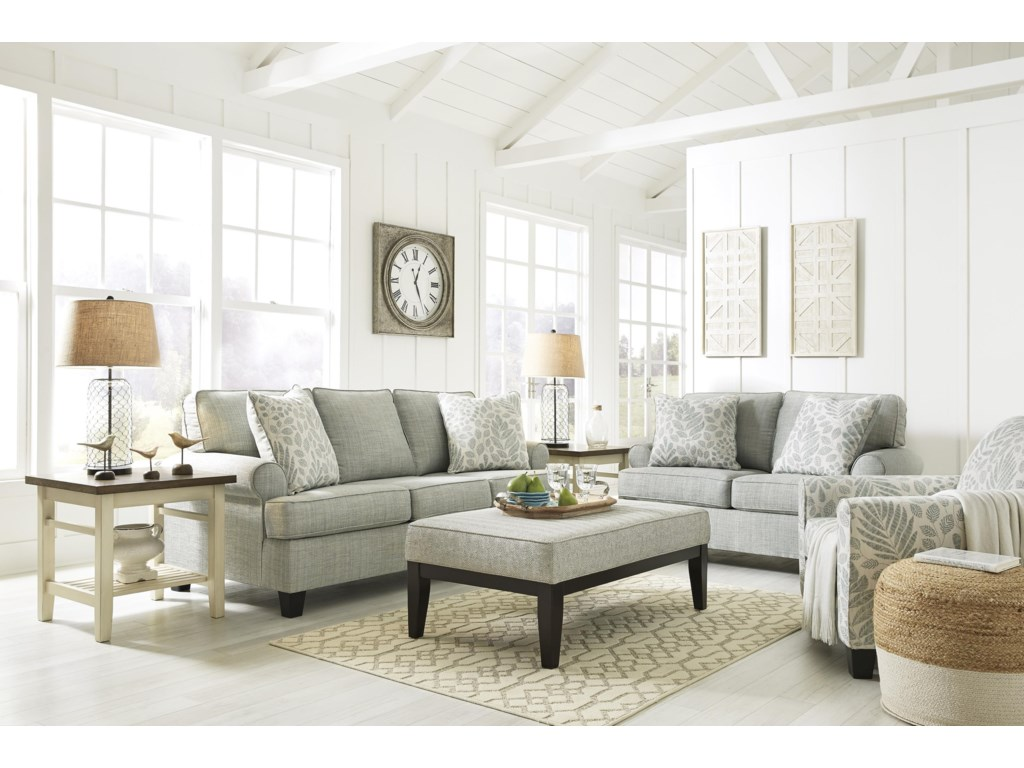 Kilarney Mist Sofa, Loveseat, Accent Chair and Accent Ottoman Set by  Signature Design by Ashley at Sam Levitz Furniture