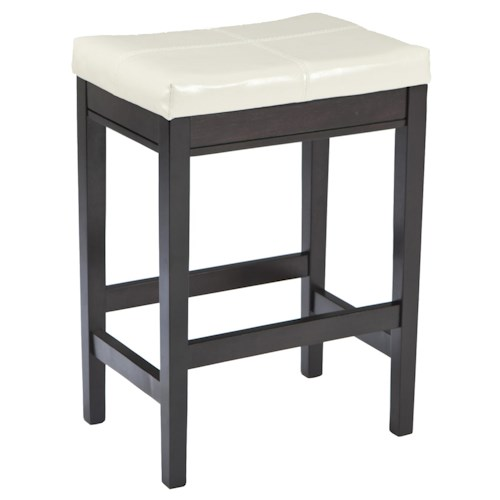 Signature Design by Ashley Kimonte Contemporary Backless Upholstered Barstool - Ivory