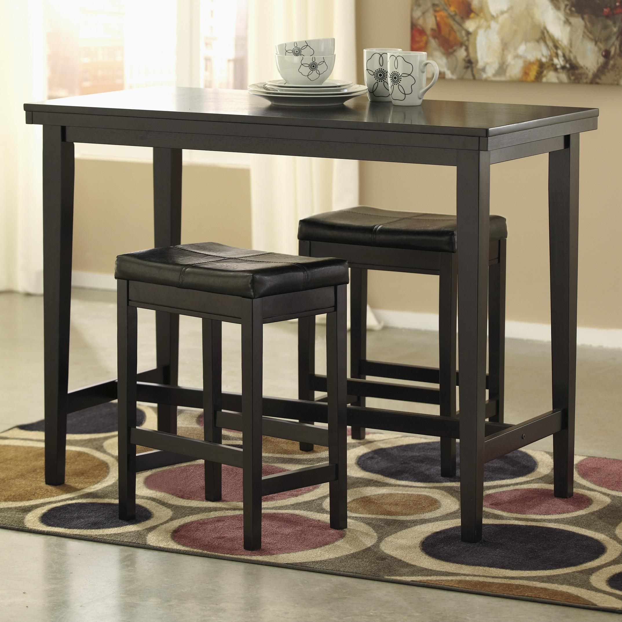 Signature Design By Ashley Kimonte 3 Piece Counter Table Set With Dark  Brown Upholstered Stools   Household Furniture   Pub Table And Stool Sets