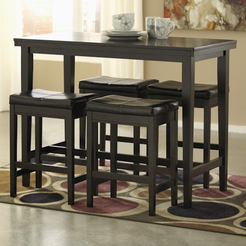 Signature Design by Ashley Kimonte 5-Piece Counter Table Set with Dark Brown Upholstered Stools