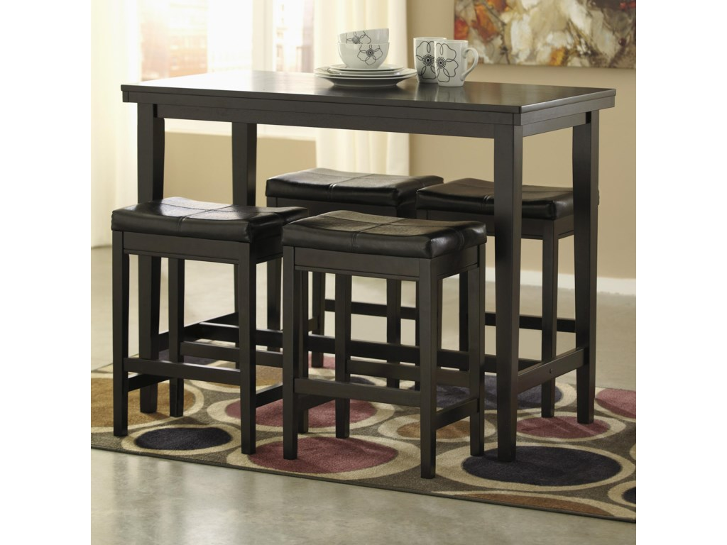 Ashley (Signature Design) Kimonte5-Piece Counter Table Set with Stools