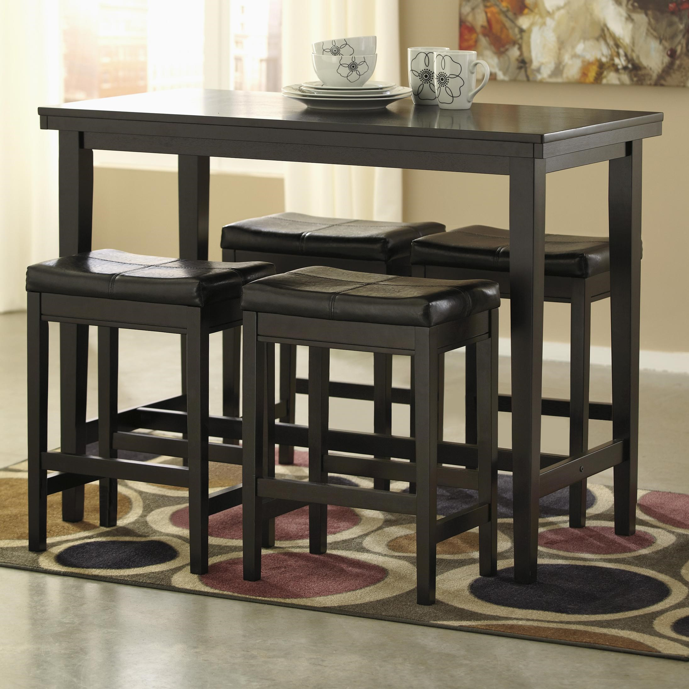 Superb Signature Design By Ashley Kimonte 5 Piece Counter Table Set With Dark  Brown Upholstered Stools