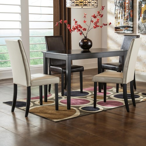 Signature Design by Ashley Kimonte 5-Piece Rectangular Table Set with Brown Chairs & Ivory Chairs