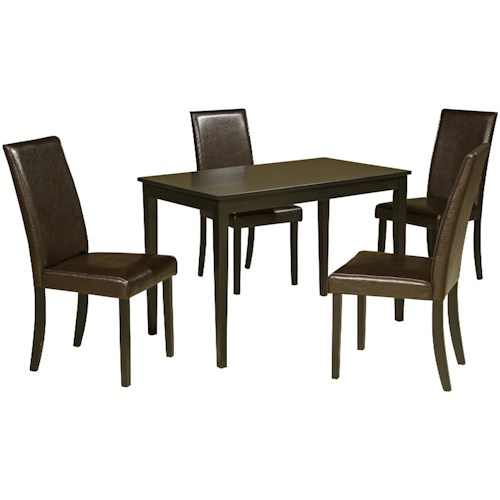 Signature Design by Ashley Kimonte 5-Piece Rectangular Table Set with Brown Chairs