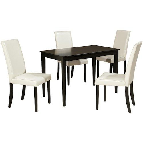 Signature Design by Ashley Kimonte 5-Piece Rectangular Table Set with Ivory Chairs