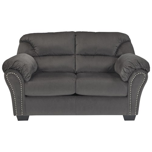 Signature Design by Ashley Kinlock Loveseat with Nailhead Trim and Pillow Arms