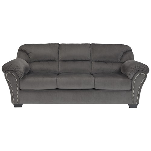 Signature Design by Ashley Kinlock Full Sofa Sleeper with Nailhead Trim and Pillow Arms