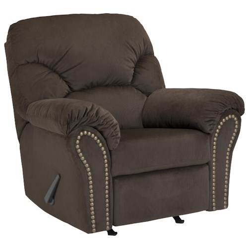 Signature Design by Ashley Kinlock Rocker Recliner with Pillow Arms & Nailhead Trim