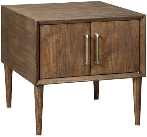 Signature Design by Ashley Kisper Mid-Century Modern Square End Table with 2 Doors