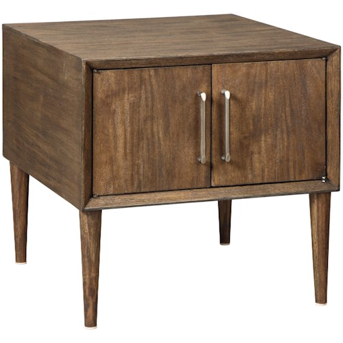 Signature Design By Ashley Kisper Mid Century Modern Square End Table With 2 Doors