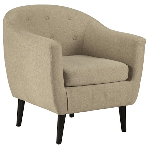 Signature Design by Ashley Klorey Mid-Century Modern Accent Chair with Tufted Back and Rounded Tapered Legs